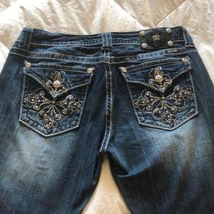 33x30 inseam fold back pockets with rhinestones